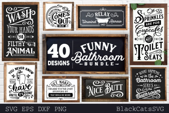 Print on Demand: Funny Bathroom Bundle SVG 40 Designs Vol Grafik Plotterdateien von BlackCatsMedia