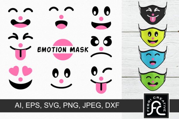 Print on Demand: Funny Child Emotion Mask Graphic Crafts By Febri Creative