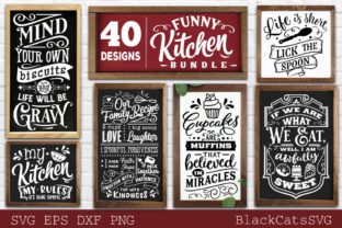 Print on Demand: Funny Kitchen Bundle SVG 40 Designs Vol Grafik Plotterdateien von BlackCatsMedia