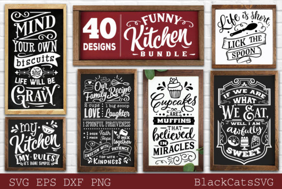 Print on Demand: Funny Kitchen Bundle SVG 40 Designs Vol Gráfico Crafts Por BlackCatsMedia