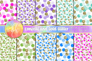 Glitter Colored Confetti Digital Paper Graphic Backgrounds By paperart.bymc