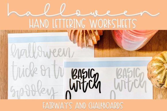 Print on Demand: Halloween Hand Lettering Worksheets Graphic Print Templates By Fairways and Chalkboards