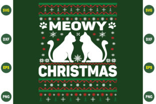 Print on Demand: Meowy Christmas Ugly Sweater Graphic Crafts By BDB_Graphics