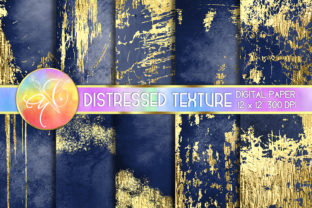 Navy Gold Foil Distressed Digital Paper Graphic Backgrounds By paperart.bymc