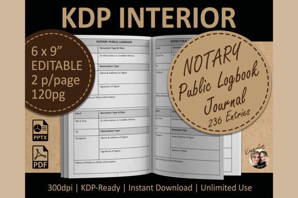 Notary Public Logbook Journal KDP Graphic KDP Interiors By KermeliaDesigns