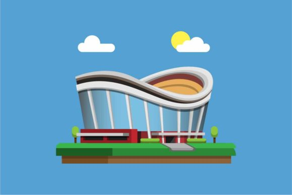 Print on Demand: Sport Arena Stadium Building Flat Vector Graphic Illustrations By aryo.hadi