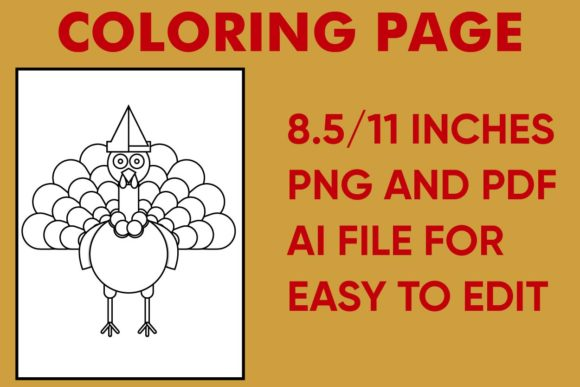 Print on Demand: Thanksgiving Turkey Coloring Page Graphic Coloring Pages & Books Kids By Mah Moud