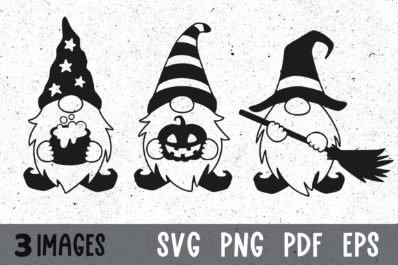Three Halloween Gnomes Svg Cut Files Graphic Crafts By GreenWolf Art