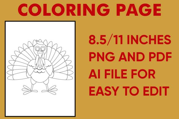 Print on Demand: Turkey Coloring Page - Kdp Thanksgiving Graphic Coloring Pages & Books Kids By Mah Moud