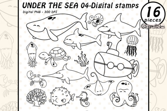 Under the Seas - Digital Stamps Graphic Illustrations By clipartfables