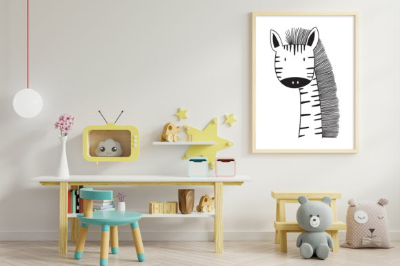 Print on Demand: Wall Art,Cute Giraffe Animal Clip Art Graphic Illustrations By Saydung89