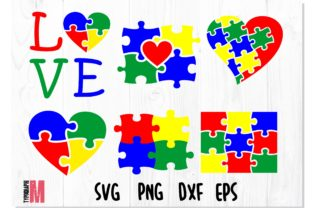 Print on Demand: Autism Puzzle SVG Bundle Graphic Crafts By Typography Morozyuk