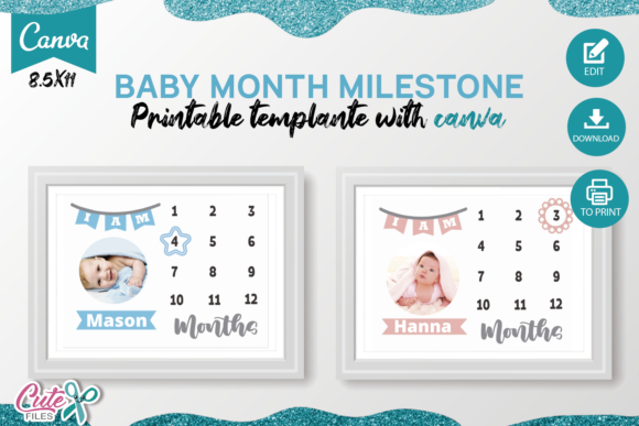 Baby Month Milestone Canva Template Graphic Print Templates By Cute files