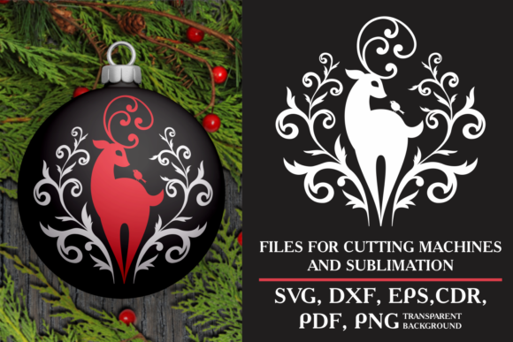 Print on Demand: Beautiful Deer. Christmas SVG. Graphic Crafts By Olga Belova