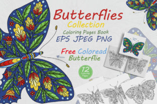 Butterflies with Floral Ornaments Graphic Coloring Pages & Books Adults By FolkStyleStudio