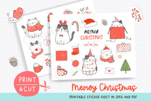 Cat Christmas Printable Sticker Sheet Graphic Illustrations By CatAndMe