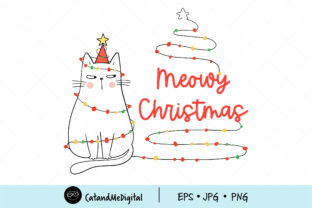 Cat Christmas Clip Art. Graphic Illustrations By CatAndMe