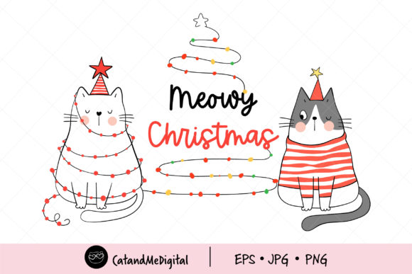 Cat Meowy Christmas. Graphic Illustrations By CatAndMe