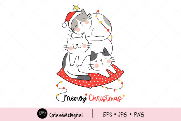 Cat Meowy Christmas Sleeping. Graphic Illustrations By CatAndMe