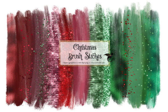 Christmas Brush Strokes Clipart Graphic