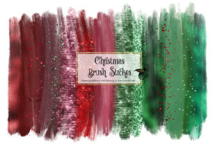 Print on Demand: Christmas Brush Strokes Clipart Graphic Illustrations By Digital Curio