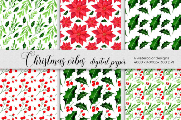Christmas Digital Papers. Winter Plants Graphic Patterns By RedDotsHouse