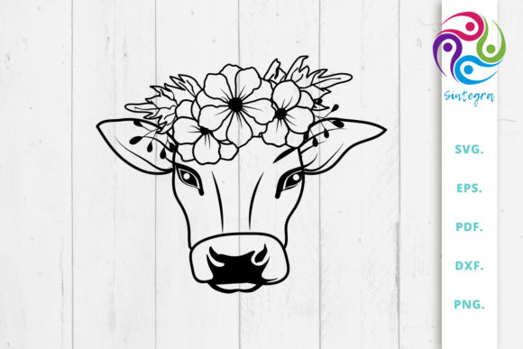 Print on Demand: Cow with Flower Crown Svg Files Graphic Crafts By Sintegra