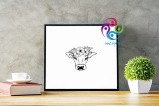 Print on Demand: Cow with Flower Crown Svg Files Graphic Crafts By Sintegra 3