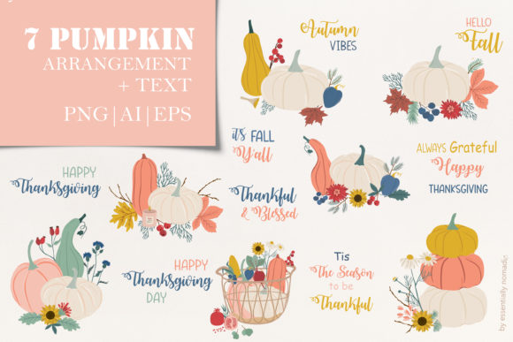 Cute Floral Pumpkin Clipart Fall Set Graphic Illustrations By EssentiallyNomadic