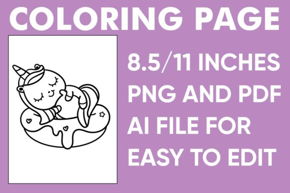 Print on Demand: Cute Unicorn Coloring Page - KDP Book Graphic Coloring Pages & Books Kids By Mah Moud