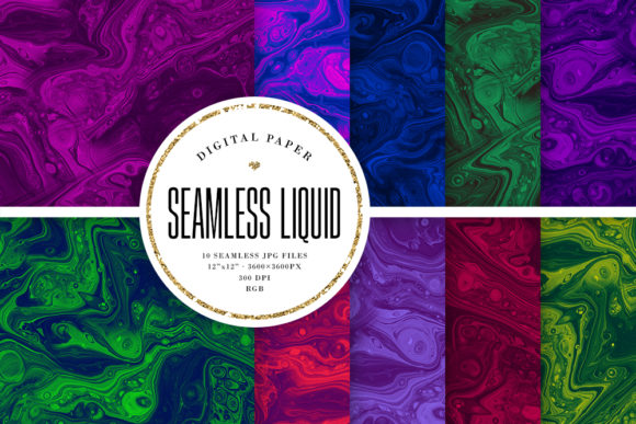 Print on Demand: Dark Liquid Ink Seamless Backgrounds Graphic Backgrounds By Sabina Leja