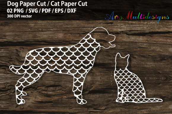 Print on Demand: Dog Paper Cut SVG / Cat Paper Cut SVG Graphic 3D SVG By Arcs Multidesigns