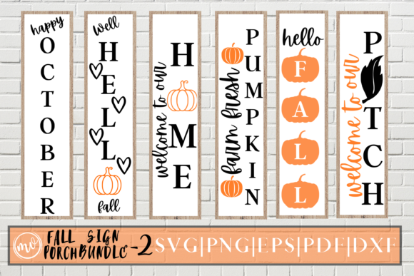 Print on Demand: Fall Porch Sign SVG Bundle | VOL-2 | 6 Graphic Crafts By Mockup Venue