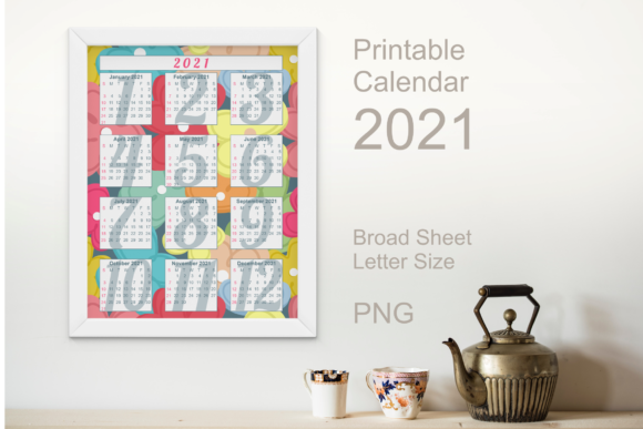 Print on Demand: Calendar 2021 Colorful Flowers Graphic Graphic Templates By print.cut.hang