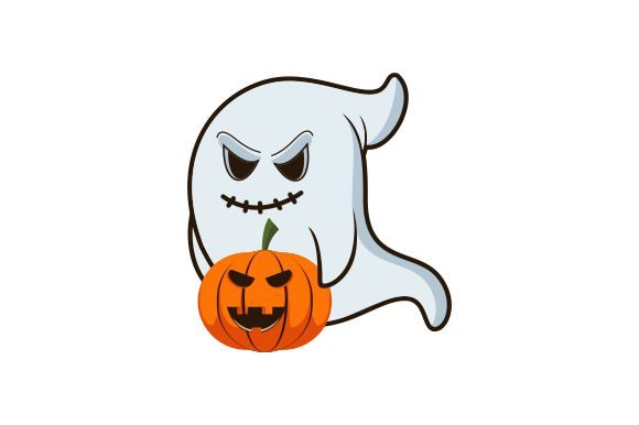 Ghosts and Pumpkin for Halloween Concept Graphic Logos By DEEMKA STUDIO