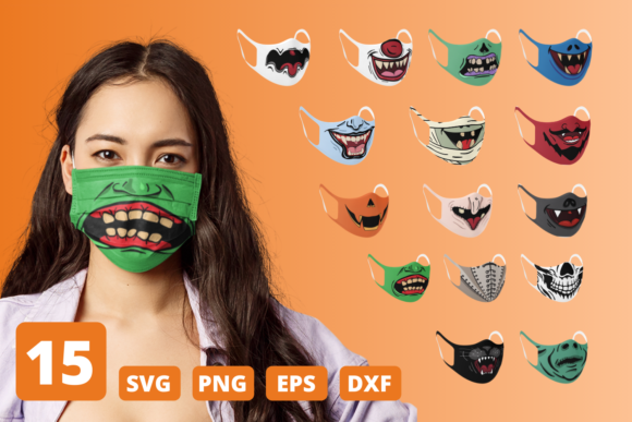 Print on Demand: Halloween Funny Face Mask Patterns Graphic Crafts By SvgOcean