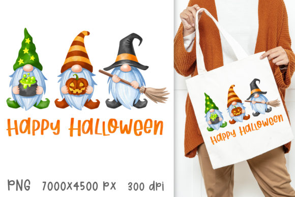 Happy Halloween Gnomes Sublimation Print Graphic Crafts By GreenWolf Art