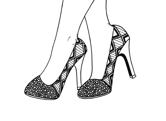 High Heel Shoe, Hand Drawn Illustration Graphic