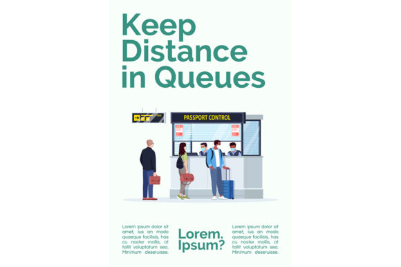 Print on Demand: Keep Distance in Queues Poster Template Graphic Graphic Templates By bsd studio