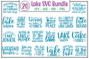 Print on Demand: Lake SVG Design Bundle Graphic Print Templates By GraphicsBooth