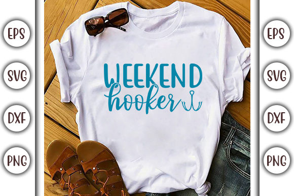 Print on Demand: Lake SVG Design, Weekend Hooker Graphic Print Templates By GraphicsBooth