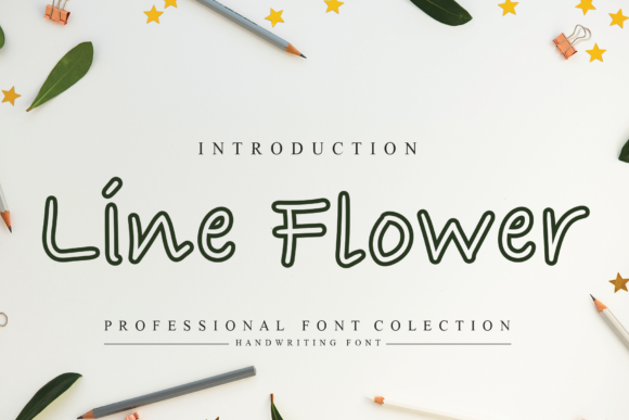 Print on Demand: Line Flower Script & Handwritten Font By flowerletter