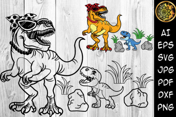 Print on Demand: Mamasaurus and Little Dino Clip Art Graphic Illustrations By V-Design Creator