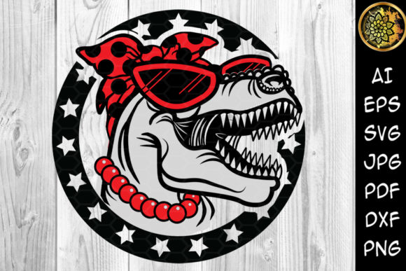Print on Demand: Mamasaurus with Bandana & Sunglasses Graphic Illustrations By V-Design Creator