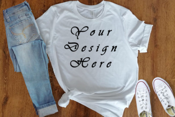 Mockup White Shirt, Wooden Farmhouse Graphic Product Mockups By MockupsByGaby