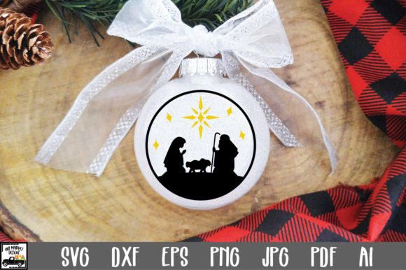Print on Demand: Nativity Christmas Ornament Graphic Crafts By oldmarketdesigns