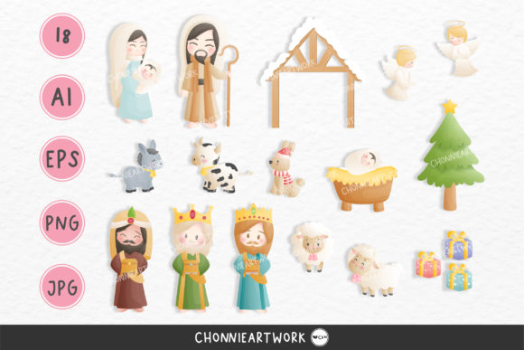 Nativity Digital Clip Art Set Graphic Print Templates By Chonnieartwork