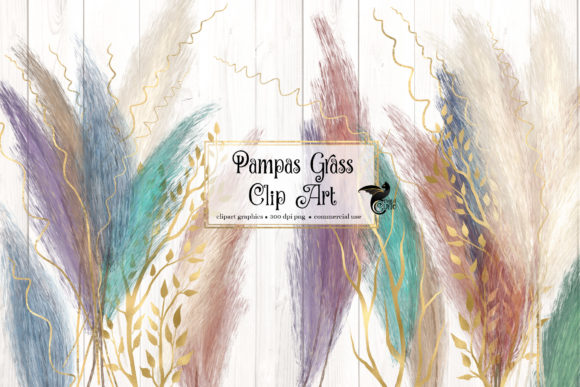 Print on Demand: Pampas Grass Clipart Grafik Illustrations von Digital Curio