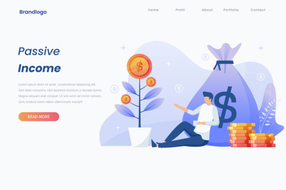 Passive Income Illustration Landing Page Graphic Illustrations By HengkiL