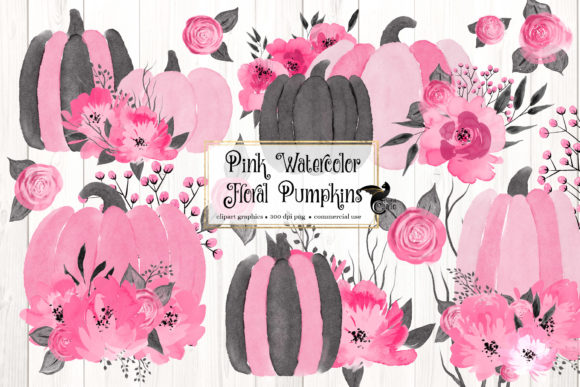 Print on Demand: Pink Floral Watercolor Pumpkins Clipart Graphic Illustrations By Digital Curio